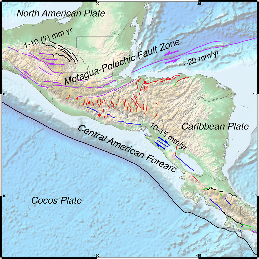 Map Of North America And The Caribbean.New Gem Dataset Of Active Faults In The Caribbean And Central