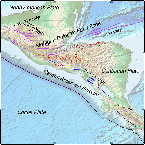 Active faults of northern Central  America